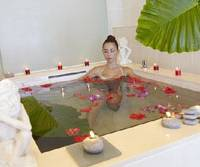 Top tub: In the resort hotel's spa named Ulu, guests can relax in a bath scented with freshly picked flowers and also have a variety of skincare treatments and massages, including ones with aromatherapy oils, for an extra charge.
