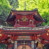 The pagoda of Mizusawa Temple is unusual for being hexagonal and featuring just two stories.