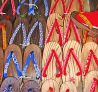 Local color: The ideal footwear for trips to and from the baths for which Ikaho is famed are geta clogs like these on sale at a shop in the town.