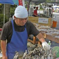Fish'n'sticks: A vendor grills lake-caught trout in the area above Kegon Falls.