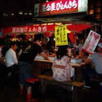 Street legal: A roadside yatai food-and-drinks stall does a roaring trade in the Tenjin district of central Fukuoka. The city is famed for the range and number of these stalls that bring evenings to life in many areas.