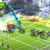 Citizens morph into a giant sword in 'The Wonderful 101,' which will be available for Wii U from Aug. | 24