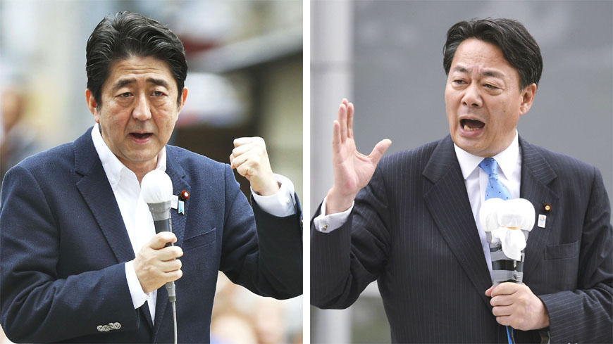 Campaign trail: Prime Minister Shinzo Abe (above left), the president of the Liberal Democratic Party, delivers a stump speech Thursday in the city of Fukushima as campaigning for the July 21 Upper House election starts. Opposition leader Democratic Party of Japan President Banri Kaieda follows suit in Morioka, Iwate Prefecture. | KYODO