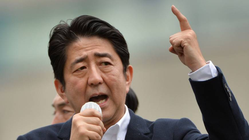 Prime Minister Shinzo Abe delivers a stump speech July 4 in Tokyo.