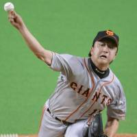 Play your part: Giants star Hirokazu Sawamura pitches for the CL on Friday in Sapporo.   KYODO
