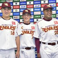 Birds of a feather: Andruw Jones (far right), Masahiro Tanaka (18) and Kazuo Matsui are among the five Eagles players on the Pacific League All-Star roster. | KYODO