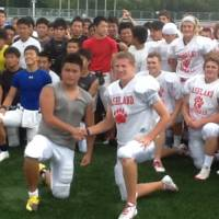 Cultural exchange: Ashland High School (Oregon) football players meet their counterparts from the Japan All-Stars earlier this week in Kyoto. The teams will compete in Pacific Rim Bowl XIII on Saturday in Kobe. | ASHLAND HIGH SCHOOL