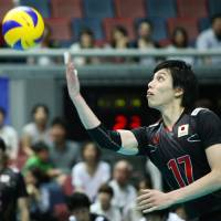 Serve and volley: Yu Koshikawa serves during Japan's 25-23, 23-25, 25-27, 25-18, 15-7 loss to Canada in their FIVB World League series in Osaka on Sunday. | FIVB