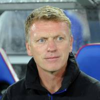 Sir Alex's replacement: Manchester United manager David Moyes is seen on the pitch before Tuesday's friendly against Yokohama F. Marinos. | AFP-JIJI