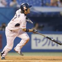 Offensive spark: The Swallows' Kazuhiro Hatakeyama watches his three-run home run leave the yard in the second inning in Friday at Jingu Stadium. Tokyo Yakult defeated the Hiroshima Carp 11-9.  | KYODO