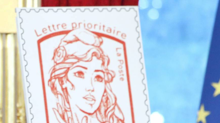 Symbolic stamp:  The new official postage stamp of Marianne, the symbol of the French republic, is unveiled Sunday in Paris during Bastille Day celebrations. | AFP-JIJI