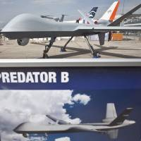 Expanding fleet: A Predator B drone is displayed at the Paris Air Show last month. | BLOOMBERG