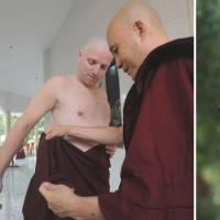 Settling in: British art historian Rupert Richard Arrowsmith is shown having his hair shorn, donning robes and walking after his ordination ceremony Feb. 23 as he enters life as a Buddhist monk at a monastery on the outskirts of Yangon. | AFP-JIJI