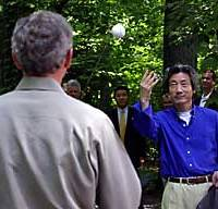 Prime Minister Junichiro Koizumi can't seem to stop playing ball with U.S. President George W. Bush.
