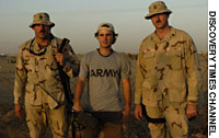 (from left) Sgt. 1st Class Curtis Rohrscheib, filmmaker Craig Renaud and Sgt. 1st Class David Short at Camp Cooke, Taji, Iraq.