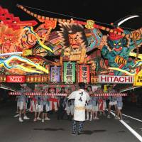 Nebuta neon: 'Tametomo's Ferocity Drives Away the Smallpox Demon,' a float by Renmei Kitamura and based on a print by Yoshitoshi Tsukioka, won the Mayor's Award at last year's festival. | AOMORI TOURISM AND CONVENTION PUBLIC INTEREST INC. ASSOCIATION