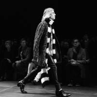 Hedi Slimane's Saint Laurent pieces, seen here in their first catwalk show, are now available from a special popup concept store in Isetan Men's, Shinjuku, Tokyo.