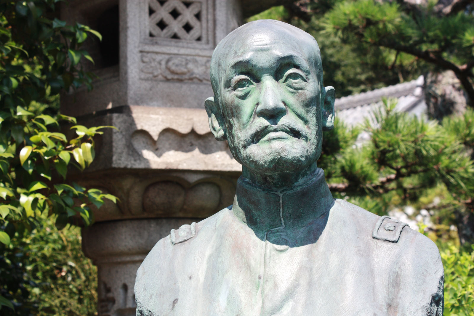 Past glories: A bust of Count Nogi Mareske, a general who committed suicide with his wife as a gesture of Imperial loyalty after Emperor Meiji's funeral in 1912. | ALON ADIKA PHOTO