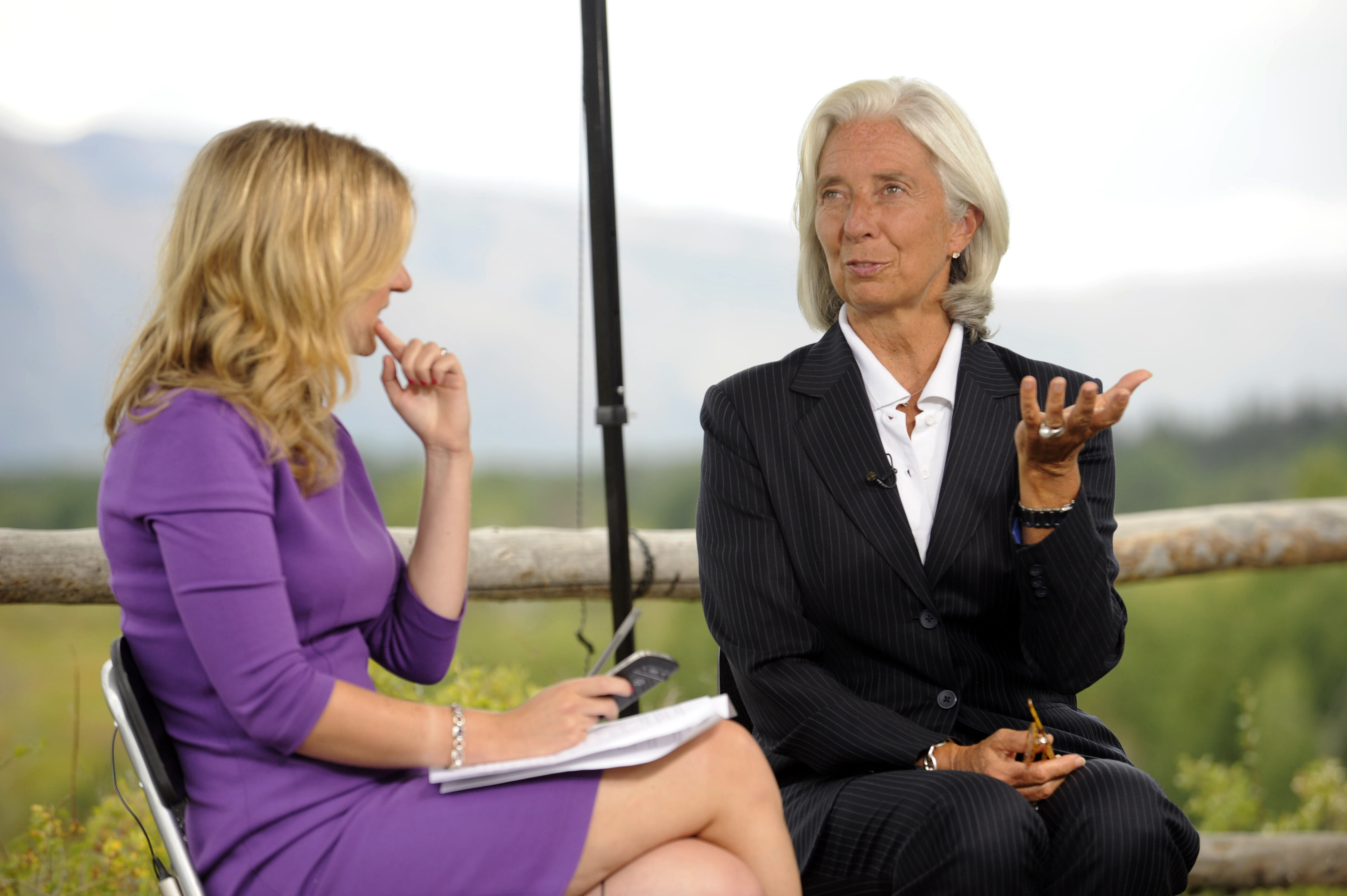 Sobering message: Christine Lagarde, managing director of the International Monetary Fund, gestures while being interviewed by Sarah Eisen of Bloomberg News at the Jackson Hole economic symposium sponsored by the Kansas City Federal Reserve Bank at the Jackson Lake Lodge in Moran, Wyoming, on Friday.   BLOOMBERG