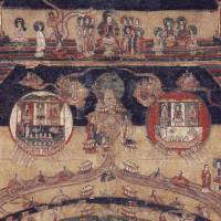 Heaven and Earth: A painting depicting Manichaeism's cosmic view shows what appears to be heaven at the top, the moon on the left and the sun on the right. | COURTESY OF YUTAKA YOSHIDA/KYODO PHOTO