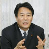 The agenda: New economic and fiscal policy minister Banri Kaieda speaks during an interview on Monday. | KYODO PHOTO