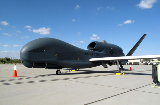 Scrutinizer: A Block 20 Global Hawk spy drone is displayed Tuesday at Edwards Air Force Base in California for the first time to Japanese media. | KYODO PHOTO