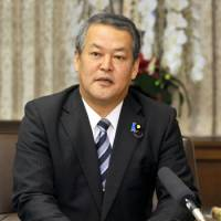 No political interference: Justice Minister Minoru Yanagida speaks during a group interview at the Justice Ministry on Tuesday. | YOSHIAKI MIURA PHOTO