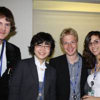Networking nature: Global Youth Biodiversity Organization members David Borgal, 16, from Canada, Marie Tanao, 22, from Japan, Christian Schwarzer, 23, from Germany, and Bethany Winstone, 19, from Canada speak to The Japan Times on Thursday during COP10.   SETSUKO KAMIYA PHOTO