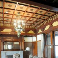 Inside the Western-style building, the luxurious dining room features a ceiling with Japanese designs from the Azuchi-Momoyama Period (1568-1600).