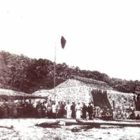 Former glory: Workers toil at a dried bonito factory on Uotsurishima, the largest of the five Senkaku islets, around the 1910s.   COURTESY OF ISHIGAKI CITY