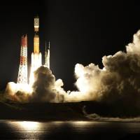 Space-bound: An H-IIB rocket lifts off from the Tanegashima Space Center in Kagoshima Prefecture early Sunday. On board is a Konotori unmanned cargo transporter containing 5.4 tons of supplies and equipment for the crew of the International Space Station. | KYODO