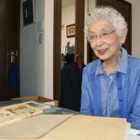 Childhood memories: Masako Yanagawa, 82, talks about the diary she wrote when she was 14 after surviving the Aug. 9, 1945, atomic bombing of Nagasaki. | KYODO