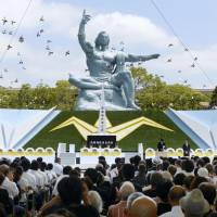 In respect: Thousands gather for a ceremony Friday to commemorate the 68th anniversary of the atomic bombing of Nagasaki, which killed nearly 75,000 people, at Nagasaki Peace Park. | KYODO