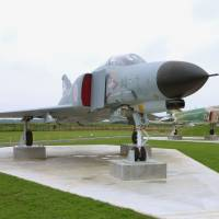 Past and present: A retired F-4 fighter is displayed at Ibaraki Airport in Omitama in August 2011. | KYODO