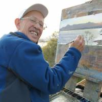 Never gets old: Brian Williams paints Lake Biwa in Shiga Prefecture on April 9. | KYODO