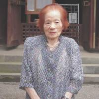 A victim: Yoshie Ogawa, 92, recalls her struggles during and after the war at Gokokuji Shrine in Saitama Prefecture on Aug. 1. | MIZUHO AOKI