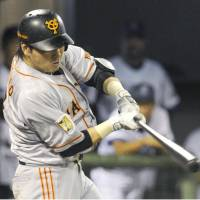 And the hits keep coming: The Giants' Hisayoshi Chono strokes a two-run single in the eighth inning against the BayStars on Tuesday in Koriyama, Fukushima Prefecture. Chono went 3-for-4 in Yomiuri's 6-0 victory over Yokohama. | KYODO
