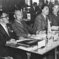Start of something big: Tokyo Gov. Ryotaro Azuma (left) and IOC member Shingoro Takaishi attend the IOC session in Munich in May 1959 where Tokyo was selected as the host city of the 1964 Summer Olympics. | AP