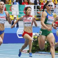 Not fast enough: Sprinter Chisato Fukushima finishes sixth in her 200-meter heat on Thursday, running 23.85 seconds. | KYODO