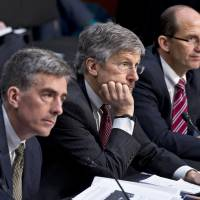 Men in the middle: National Security Agency Deputy Director John Inglis (left), Robert Litt (center), general counsel in the Office of Director of National Intelligence, and Sean Joyce, deputy director of the FBI, testify in Washington on Wednesday. | AP