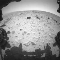 Not of this Earth: A shot of Mars taken by the Curiosity rover's hazard-avoidance camera on July 16 just after completing a drive that took its total distance on the red planet past the 1-km mark since it landed there Aug. 5, 2012. | NASA/JPL-CALTECH