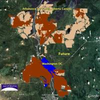Sky-high imaging: Satellite imagery shows the extent of tar sands mining in Alberta, Canada, as of 1999, relative to the area of Washington, D.C.   COURTESY OF SKYTRUTH