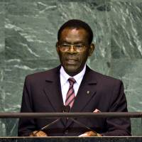 Poor choice: Teodoro Obiang Nguema Mbasogo, president of Equatorial Guinea, speaks at the United Nations on Sept. 23, 2009. The Sullivan Foundation came under fire for honoring longtime dictator Obiang as a 'champion of Africa.'   BLOOMBERG