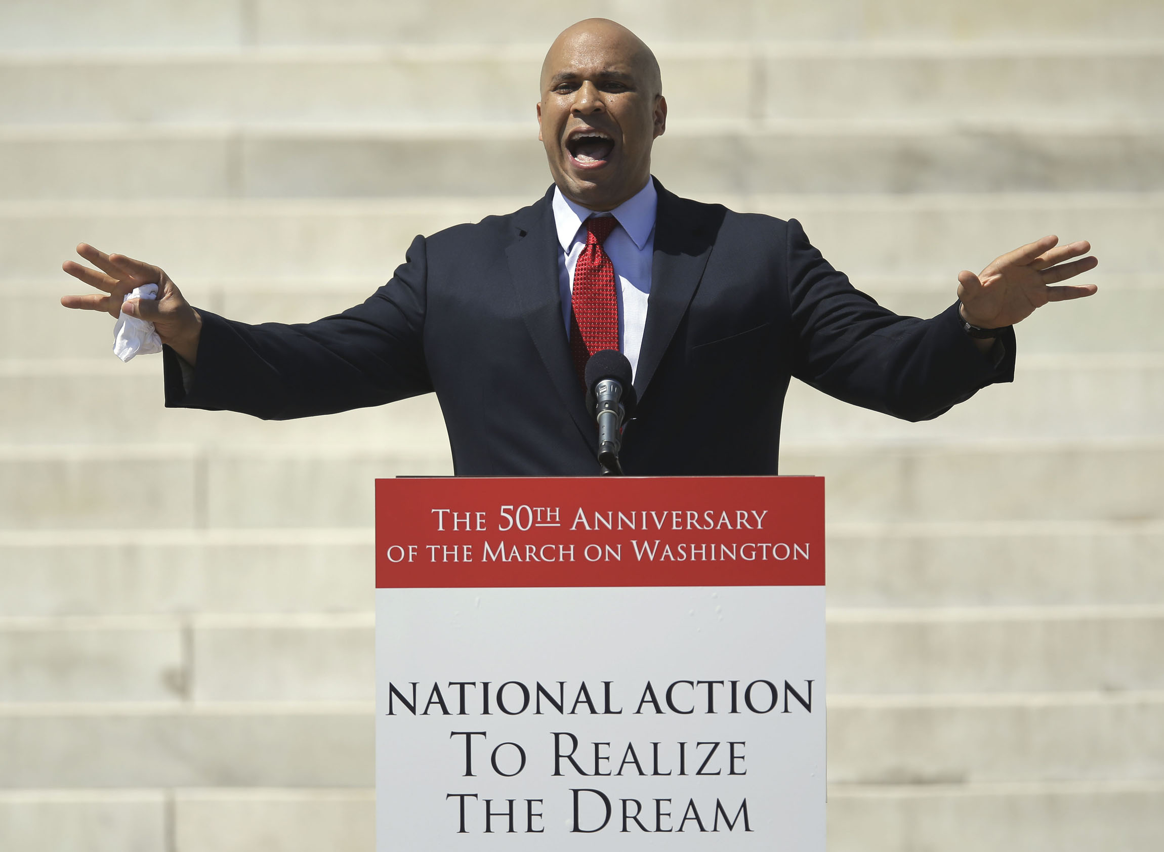 Greater things await: Newark Mayor Cory Booker, a rising Democratic star who is running for the U.S. Senate, speaks at an Aug. 24 rally from the steps of the Lincoln Memorial to commemorate the 50th anniversary of the 1963 March on Washington. | AP