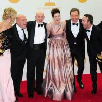 Actor Bryan Cranston (third from right) and members of 'Breaking Bad' pose in the press room of the 65th Annual Primetime Emmy Awards. The crtically acclaimed AMC series was named Outstanding Drama Series. | AFP-Jiji