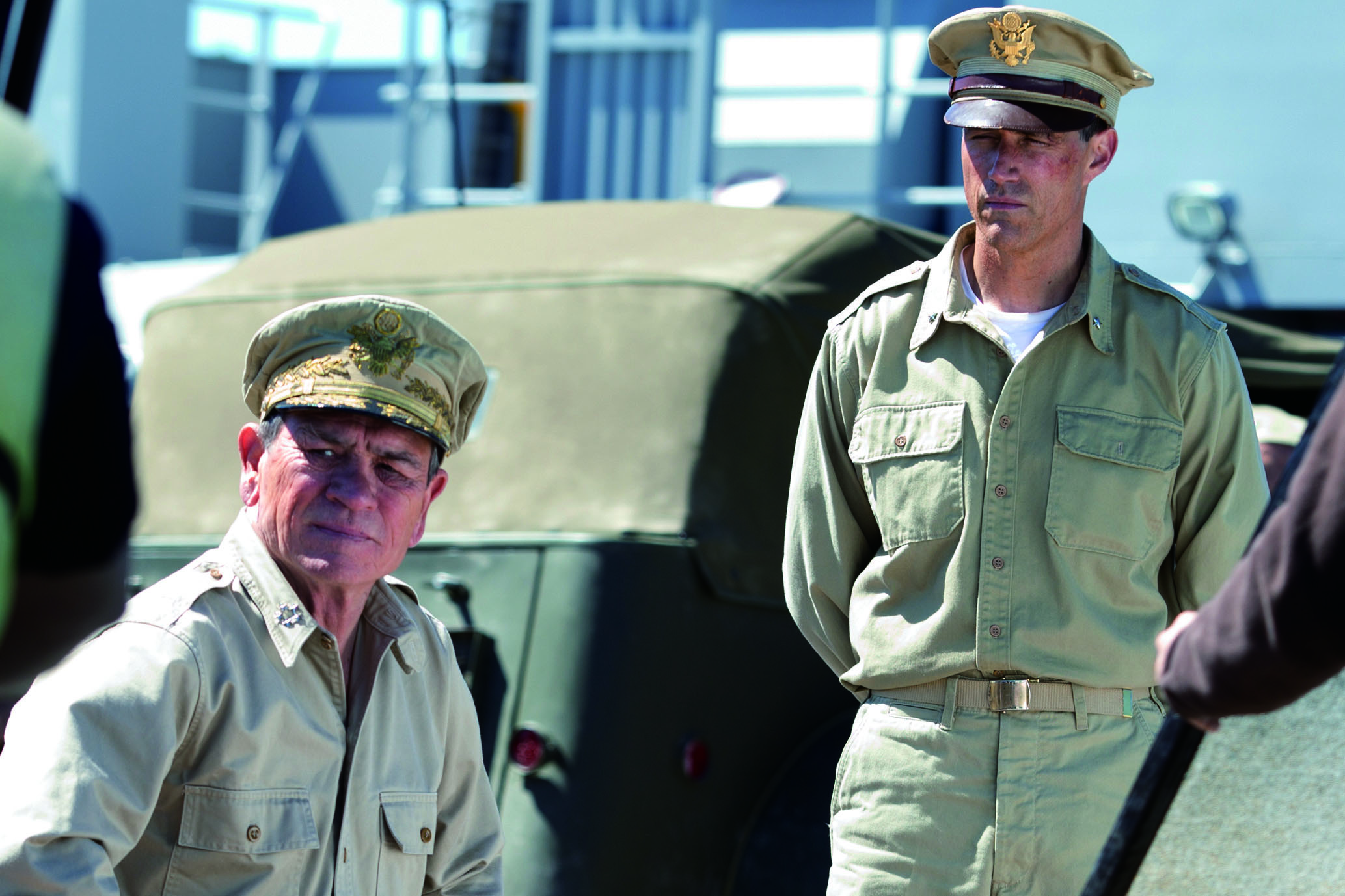 Postwar story: Tommy Lee Jones (left) plays Gen. Douglas MacArthur and Matthew Fox plays Gen. Bonner Fellers in 'Emperor,' which is now playing in cinemas nationwide. | FELLERS FILM LLC 2012 ALL RIGHTS RESERVED