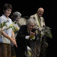 Take a bow: Seiji Ozawa takes a curtain call after conducting Maurice Ravel's opera 'The Child and the Spells' on Aug. 23, the opening day of the opera program for this year's Saito Kinen Festival Matsumoto, which ran from Aug. 12 to Sept. 7. | TAKESHI YAMADA