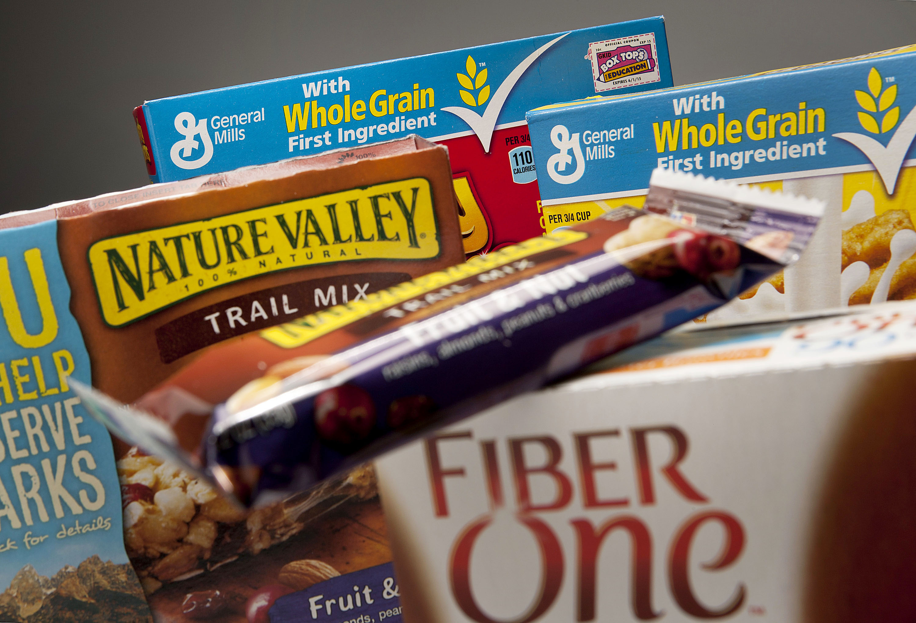 On the grain: General Mills Inc. highlights the whole-grain and fiber content of the company's products. Research has indicated that these two dietary needs can help protect against cardiovascular disease and contribute to maintaining healthy body weight. | BLOOMBERG