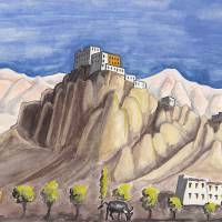 The writer's 1981 painting of Thiksey monastery.   LESLEY DOWNER