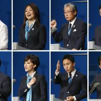 The face of a nation: Tokyo 2020 Bid Committee speakers for its final presentation on Saturday in Buenos Aires included (top row, left to right) Princess Hisako, Paralympic long jumper Mami Sato, Japanese Olympic Committee President Tsunekazu Takeda, Tokyo 2020 CEO Masato Mizuno and (bottom row, left to right) Tokyo Gov. Naoki Inose, Tokyo 2020 bid ambassador Christel Takigawa, Olympic fencer Yuki Ota and Prime Minister Shinzo Abe.  | KYODO
